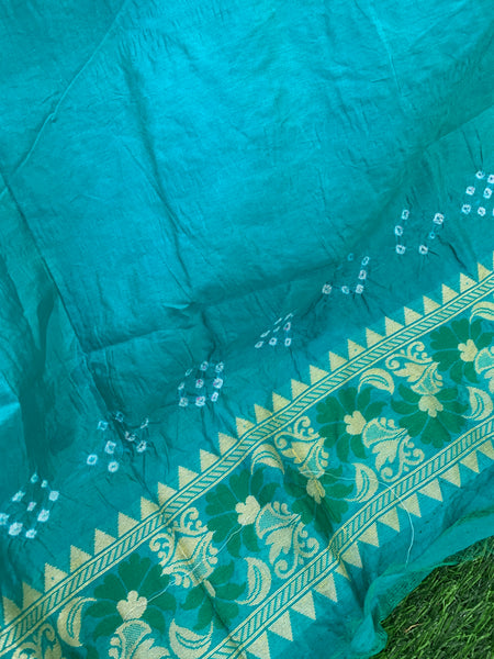 Dupion Silk Banarasi Weave with Bandhani Saree - Red and Sea Blue