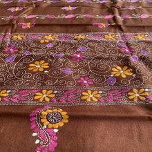 Load image into Gallery viewer, Kantha embroidered woollen shawl - Brown