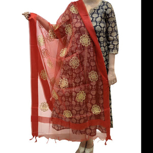 Organza Embroidered Dupatta- Red