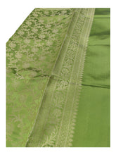 Load image into Gallery viewer, Banarasi Cotton Silk With Floral Pattern Jaal Dupatta- Light Green