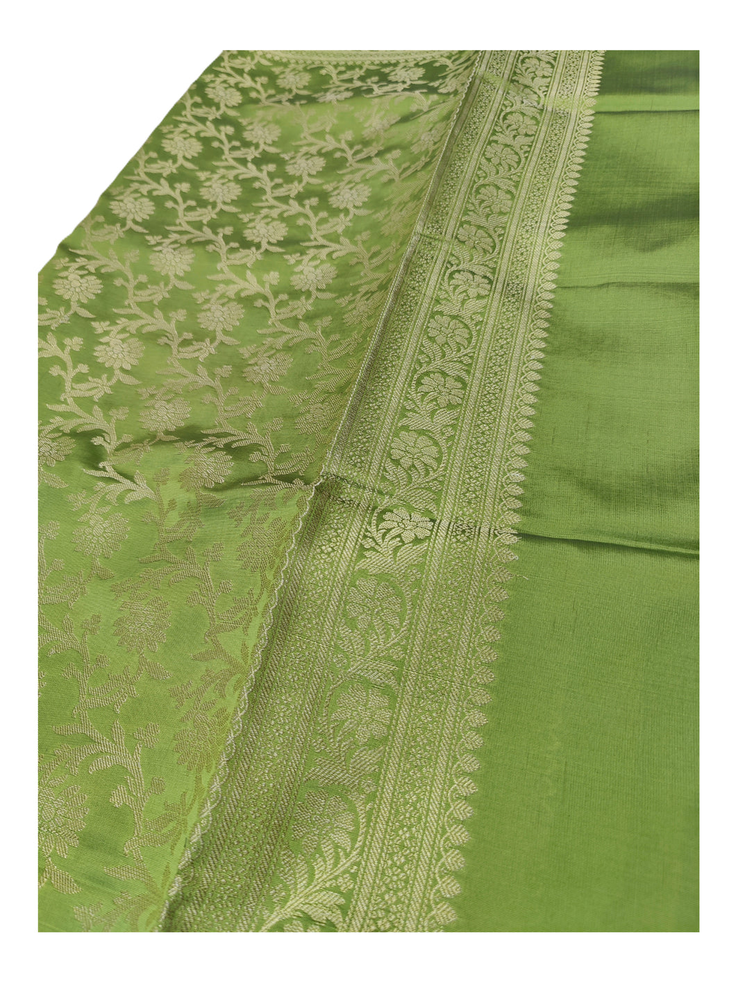 Banarasi Cotton Silk With Floral Pattern Jaal Dupatta- Light Green