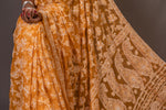 Georgette Chikankari Saree Full Jaal Work - Mustard