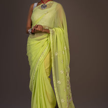 Load image into Gallery viewer, Georgette Light Chikankari Saree With Net work on Pallu- Light Yellow