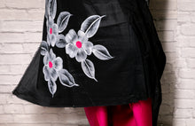 Load image into Gallery viewer, Glace Cotton Hand-painted Unstitched Salwar Suit- Black and Pink