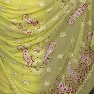 Georgette Light Chikankari Saree With Net work on Pallu- Light Yellow