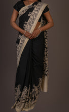 Load image into Gallery viewer, Chennur Silk Kalamkari Saree- Black and White