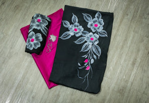 Glace Cotton Hand-painted Unstitched Salwar Suit- Black and Pink