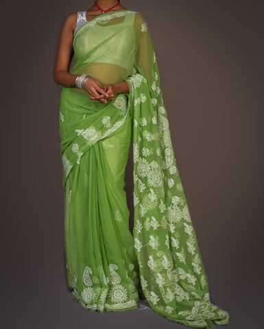 Georgette Light Chikankari Saree - Various Colors