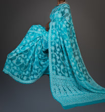 Load image into Gallery viewer, Georgette Chikankari Saree Full Jaal Work - Aqua Blue