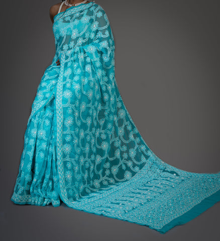 Georgette Chikankari Saree Full Jaal Work - Aqua Blue