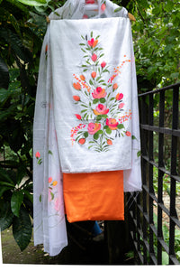 Glace Cotton Hand-painted Unstitched Salwar Suit - White and Orange