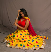 Load image into Gallery viewer, Phulkari Bagh Lehenga Skirt with Contrast Border Dupatta - Yellow (Custom Colours Available)