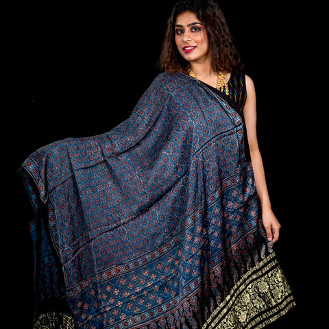 Modal Silk Ajrakh With Zari Tissue Border - Blue