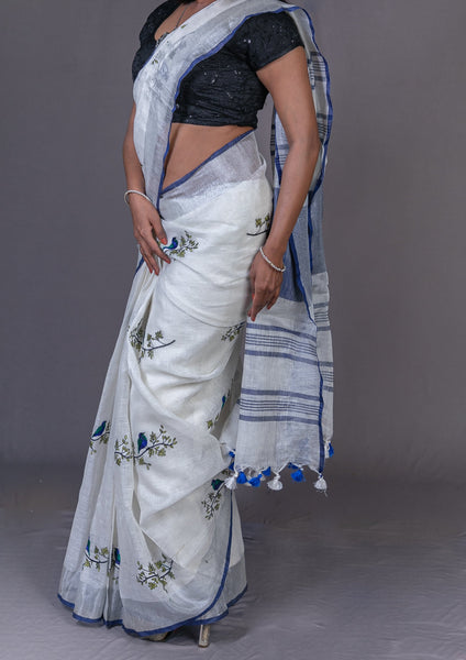 Linen by Linen With Silver Zari and Embriodery Saree- White