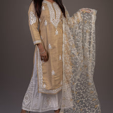 Load image into Gallery viewer, Long Kochi Silk Chikankari Kurta - Beige