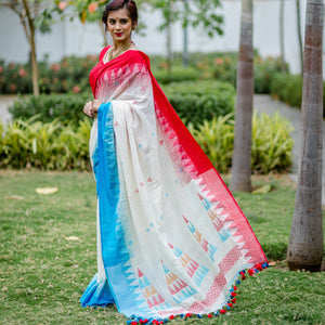 Soft Handloom Cotton Jamdani Woven Saree