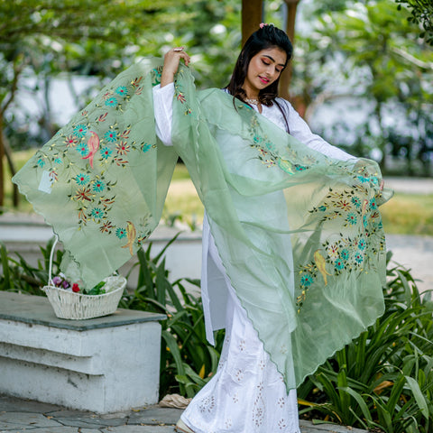 Organza Hand-painted Dupatta - Light Green