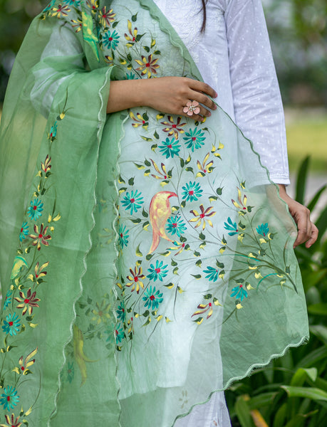 Organza Hand-painted Dupatta - Birds on Flowers - Olive Green