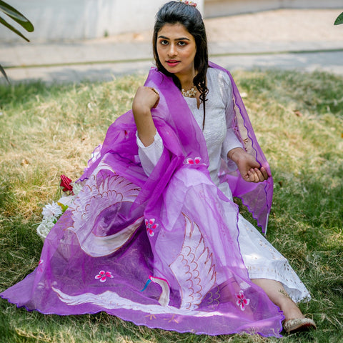 Organza Hand-painted Dupatta - Purple