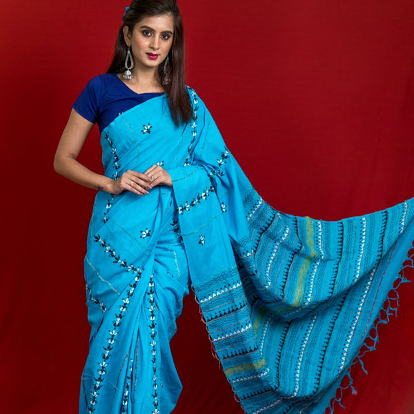 Khesh Cotton With Kantha Embroidery Saree - Blue