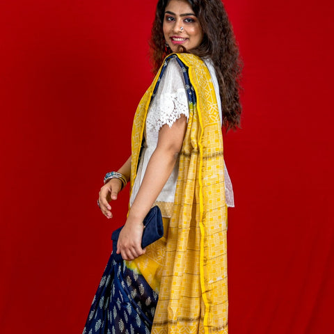 Chanderi hand block printed saree - Indigo and Yellow