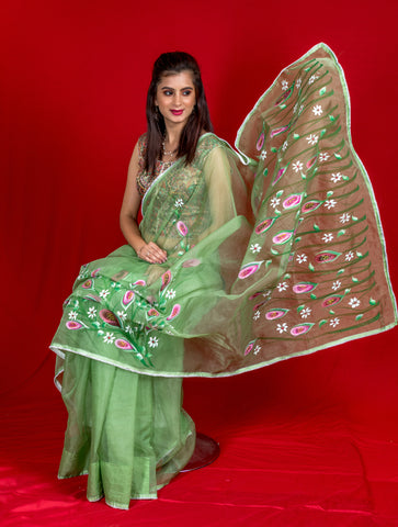 Organza Hand-Painted Saree - Lillies - Light Green