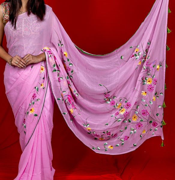 Georgette Hand-Painted Saree - Robin - Light Pink