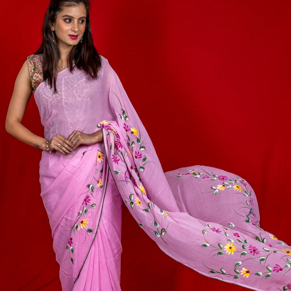 Georgette Hand-Painted Saree - Light Pink