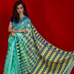 Handloom Cotton Jamdani Woven Saree - Mint Green