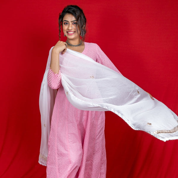 Chiffon Dyeable Dupatta With Gotapatti Border - White