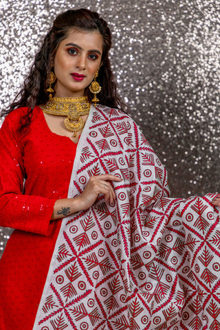 Pure Tussar Silk Kantha Stitch and printed dupatta - White