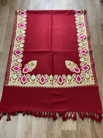 Pure wool with kashmiri embroidery stole