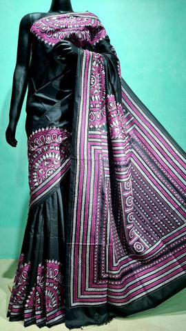 Pure Silk Kantha Stitch Saree- Black