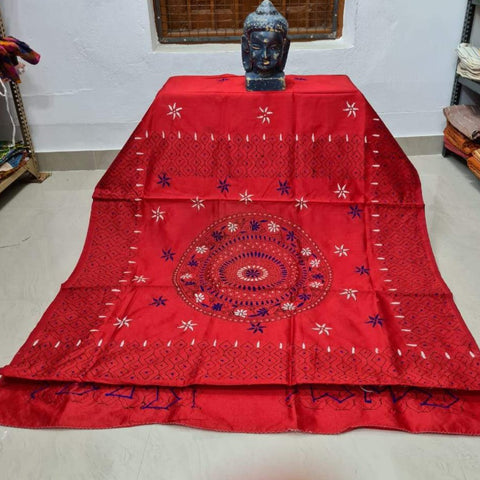 Assam Silk (cotton silk) Kantha Work Saree - Red