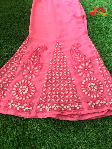 Chikankari  Georgette Pallazo with Gota work In Sharara Style - Coral Pink - Phulari