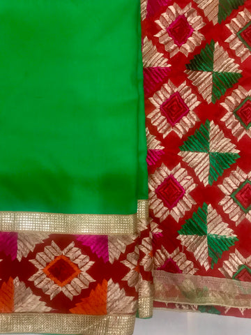 Phulkari Embroidered Suit Fabric Heavy Design - Green Multicolour - Phulari