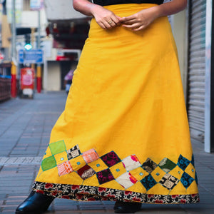 Applique Work Wrap Around Skirt With Boul Patches - Phulari