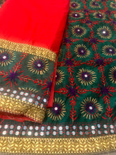 Load image into Gallery viewer, Phulkari Dress Hand Embroidered Unstitched Fabric - Red Green - Phulari