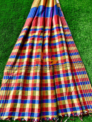 Khesh Saree Handloom Cotton Checks - Red Blue - Phulari