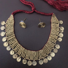 Load image into Gallery viewer, Dhokra Choker Style Necklace Set with Maroon Thread. - Phulari