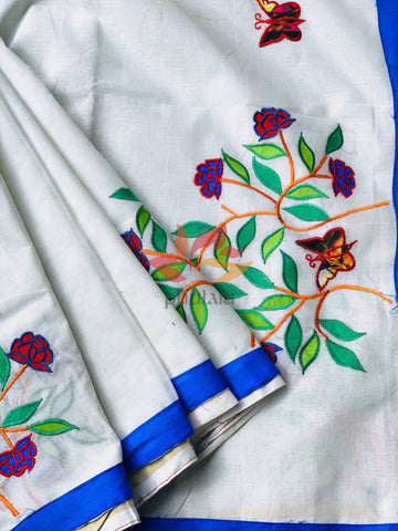 Bangladeshi Tant Saree Appliqué Work Embroidery Butterfly - White Blue - Phulari