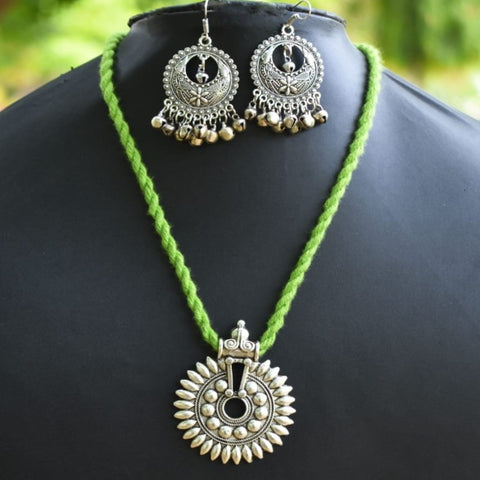 Light Green Thread Oxidized Pendant Set With Hook Earrings. - Phulari