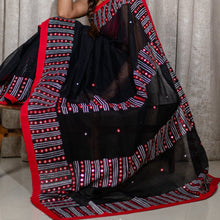 Load image into Gallery viewer, Bangladeshi Tant Saree Embroidery Foil Mirror Work - Black Red - Phulari
