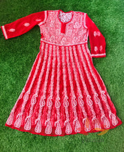 Load image into Gallery viewer, Chikankari Georgette Anarkali Kurti – Red - Phulari
