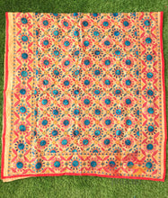 Load image into Gallery viewer, Hand Embroidered Madhubani Chanderi Dupatta- Red Circles Multicolour - Phulari