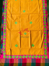 Load image into Gallery viewer, Khadhi Saree appliqué patch work foil mirror - Mustard - Phulari
