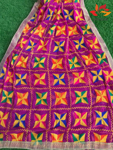 Traditional Light Bagh Phulkari Dupatta (PE01) - Magenta - Phulari
