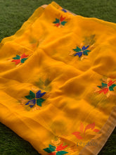 Load image into Gallery viewer, Traditional Simple Floral Butti Phulkari Dupatta - Yellow - Phulari