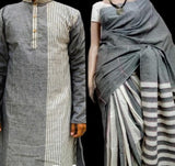 Handloom Khesh Couple Set - Saree & Kurta - Grey