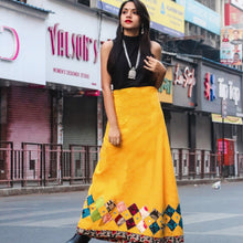 Load image into Gallery viewer, Applique Work Wrap Around Skirt With Boul Patches - Phulari